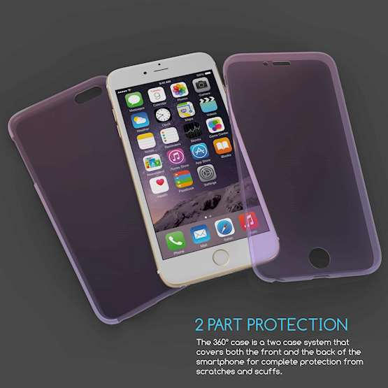 iPhone 6 / 6S Plus Full Body 360 TPU Gel Case Pink / Purple