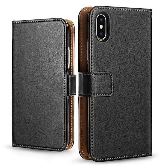 Caseflex Apple iPhone X Real Leather Wallet - Black (W) (Retail Box)