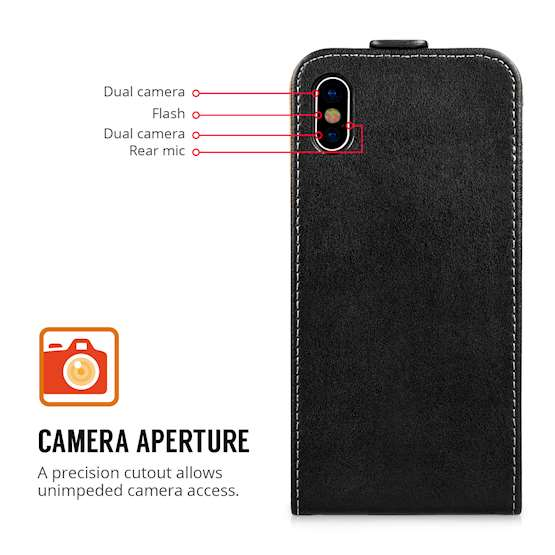 Caseflex iPhone X Real Leather Flip - Black