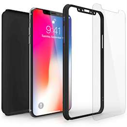 Caseflex iPhone X Shockproof Hybrid 360 With Glass Screen Protector - Black