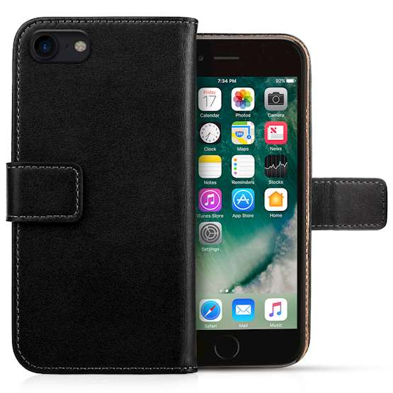 iPhone 8 Case, iPhone 8 Genuine Leather Wallet Case | Durable and Slim | Lightweight Cover | With Multiple Card Slots & Cash Compartment - Black