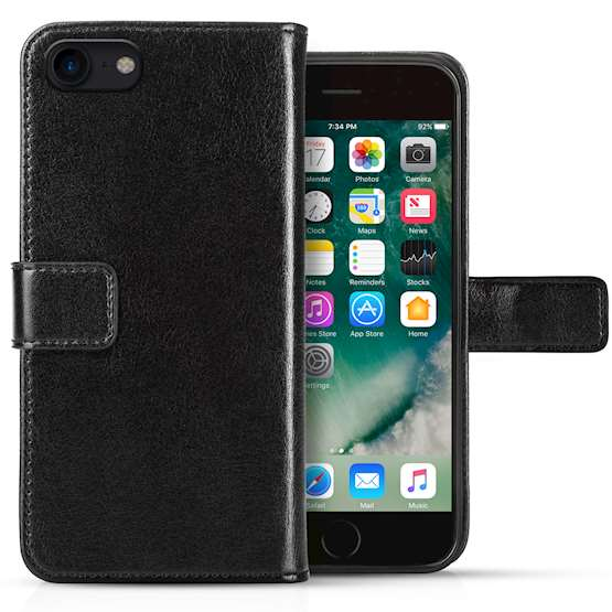iPhone 8 Id Real Leather Wallet - Black