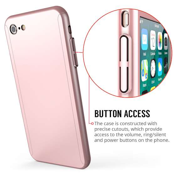 iPhone 8 PC Hybrid Case W/ Tempered Glass Cover - Rose Gold