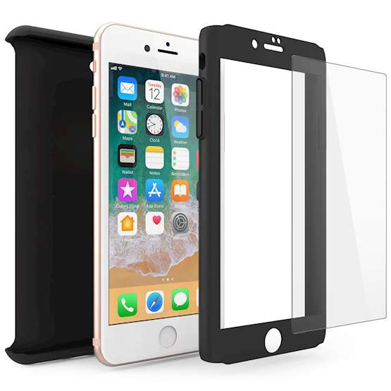 iPhone 8 PC Hybrid Case W/ Tempered Glass Cover - Black
