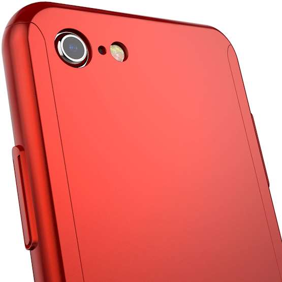 iPhone 8 PC Hybrid Case W/ Tempered Glass Cover - Red