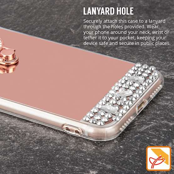 iPhone 8 Case, Mirrored TPU Gel - BLING Case - Jewelled Design - Ring Stand - Slim Soft Back Cover - Rose Gold