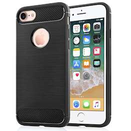 Apple iPhone 8 Carbon Fibre Tpu Case Silicone Cover - Black