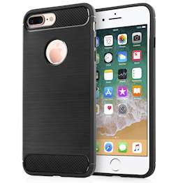 iPhone 8 Plus Case, Carbon Fibre Textured Gel Cover | Shock Absorbing | Lightweight & Slim TPU Gel Protection - Black