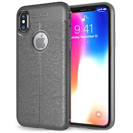 iPhone X Case, | Auto Camera Focus | Leather Effect Design | TPU Gel Back Cover - Grey
