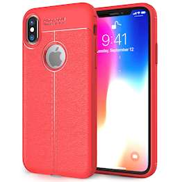 iPhone X Case, Auto Camera Focus | Leather Effect Design | TPU Gel Back Cover - Red