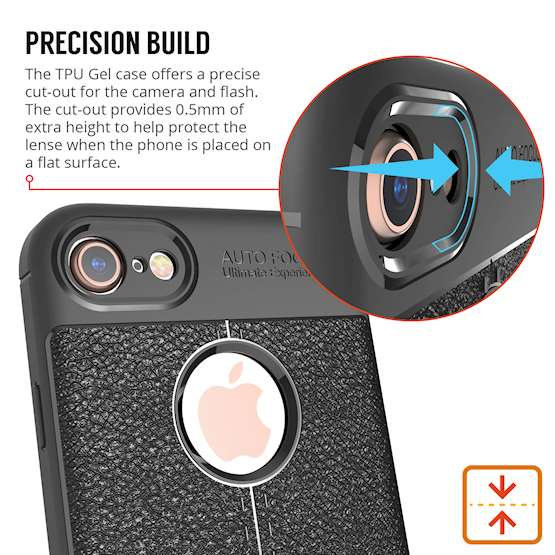 iPhone 8 Case| Auto Camera Focus | Leather Effect Design | TPU Gel Back Cover - Black