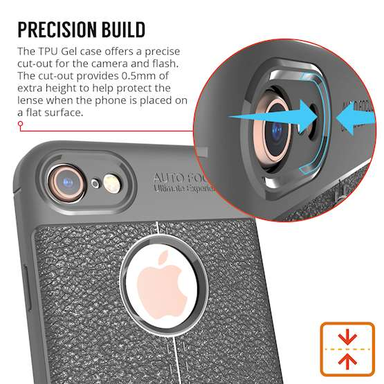 iPhone 8 Case| Auto Camera Focus | Leather Effect Design | TPU Gel Back Cover - Grey