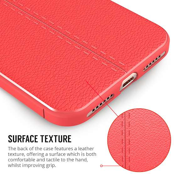iPhone 8 Case | Auto Camera Focus | Leather Effect Design | TPU Gel Back Cover - Red