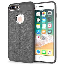 iPhone 8 Plus Case | Auto Camera Focus | Leather Effect Design | TPU Gel Back Cover - Grey