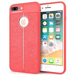 iPhone 8 Plus Case | Auto Camera Focus | Leather Effect Design | TPU Gel Back Cover - Red