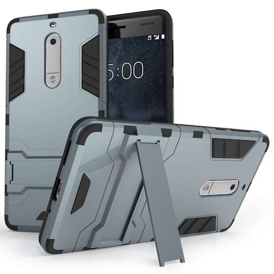Nokia 5 Mesh Combo Stand Case - Steel Blue