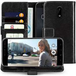 Nokia 6 Id Real Leather Wallet - Black