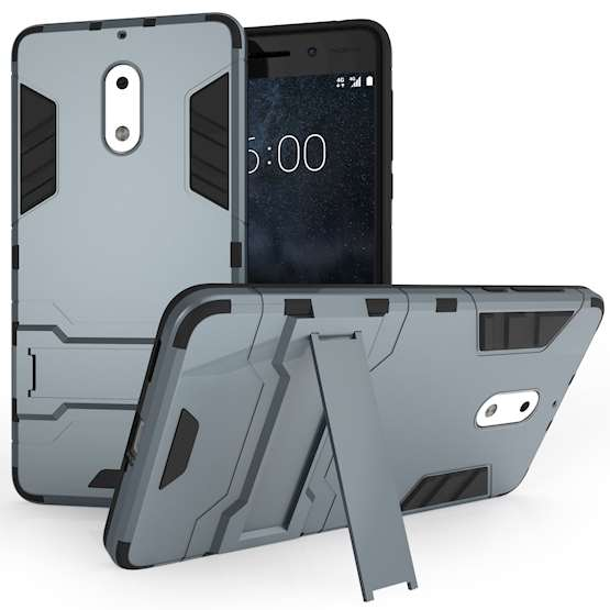 Nokia 6 Mesh Combo Stand Case - Steel Blue
