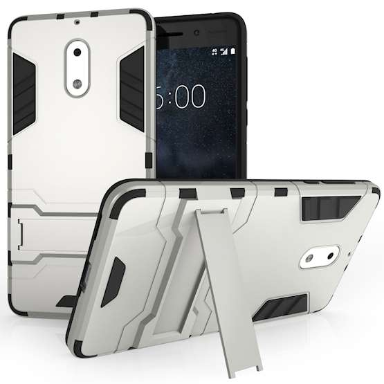 Nokia 6 Mesh Combo Stand Case - Silver