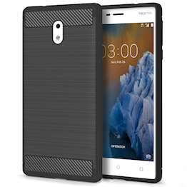 Nokia 3 Carbon Fibre TPU Case Silicone Cover - Black