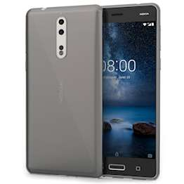 Nokia 8 Case,  Scratch Resistant - Ultra Slim & Lightweight - NO Bulkiness - TPU Gel With Inner Dots Soft Thin Silicone Back Cover - Smoke Black