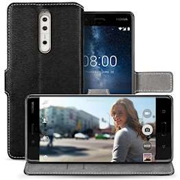 Nokia 8 Case, Nokia 8 Leather Case | Magnetic Close Clasp For Easy Call Answering | | Viewing Stand Function |  2 Card Slots - Black