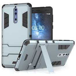 Nokia 8 Case, ExtremeHeavy Duty ArmourCase For The Nokia 8   Shockproof Dual LayerFull Body Cover   Drop and Impact Protection - Steel Blue