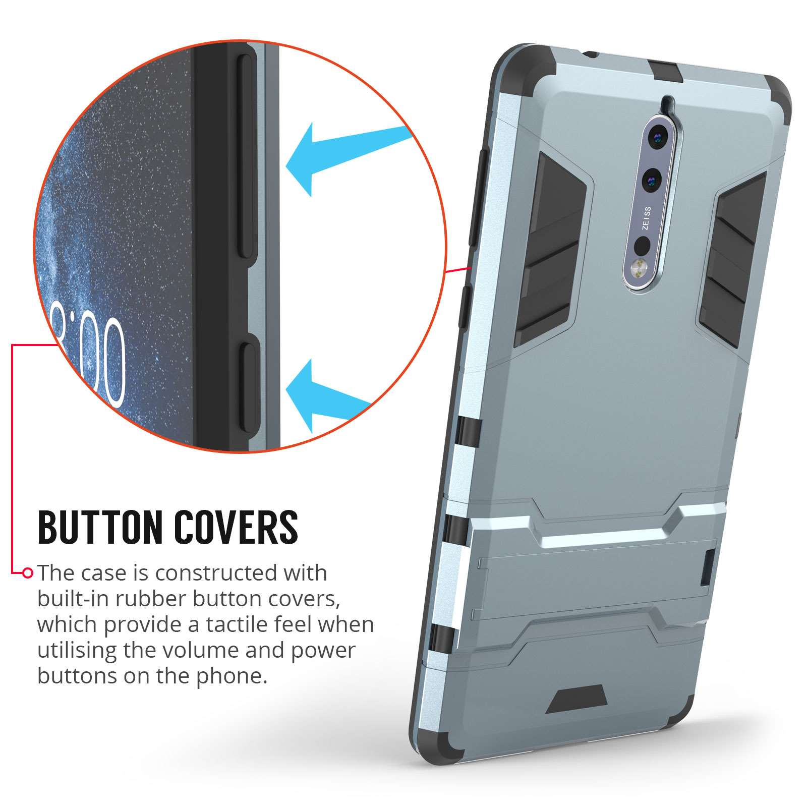 cheap for discount 13d98 6e7fe Nokia 8 Heavy Duty Shockproof Armour Case - Steel Blue