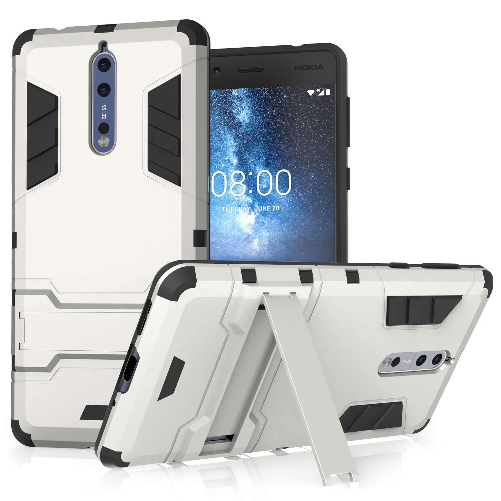 reputable site 949ee 24238 Nokia 8 Shockproof Armour Case - Silver