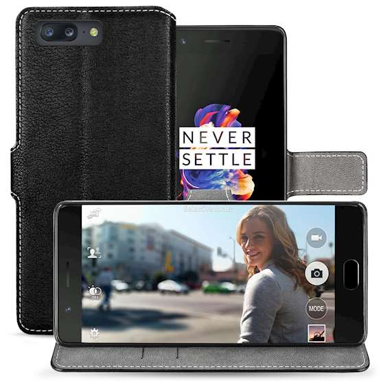 ONEPLUS 5 PU LEATHER SLIM WALLET STAND CASE - BLACK