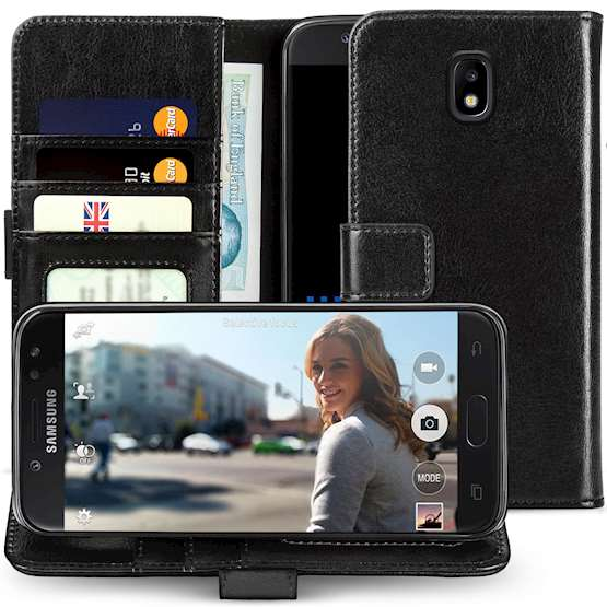 SAMSUNG GALAXY J5 (2017) ID REAL LEATHER WALLET - BLACK