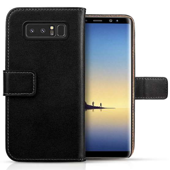 Samsung Galaxy Note 8 Real Leather Wallet - Black