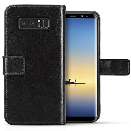 Samsung Galaxy Note 8 ID Real Leather Wallet - Black