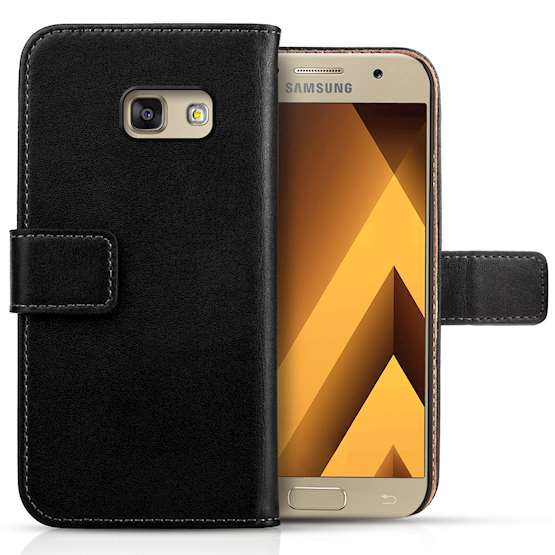 Samsung Galaxy A5 (2017) Real Leather Wallet - Black