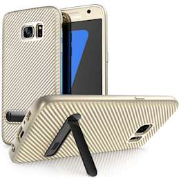 Samsung Galaxy S7 Case, Carbon Fibre Textured Gel Cover | Shock Absorbing | Lightweight & Slim TPU Gel Protection with Stand - Gold