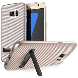 Samsung Galaxy S7 Case, Carbon Fibre Textured Gel Cover | Shock Absorbing | Lightweight & Slim TPU Gel Protection with Stand - Rose Gold