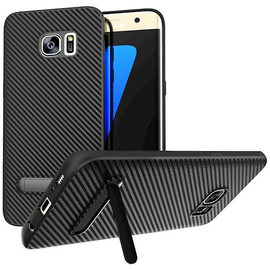 Samsung Galaxy S7 Edge Case, Carbon Fibre Textured Gel Cover | Shock Absorbing | Lightweight & Slim TPU Gel Protection with Stand- Black