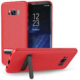 Samsung Galaxy S8 Case, Carbon Fibre Textured Gel Cover | Shock Absorbing | Lightweight & Slim TPU Gel Protection with Stand - Red