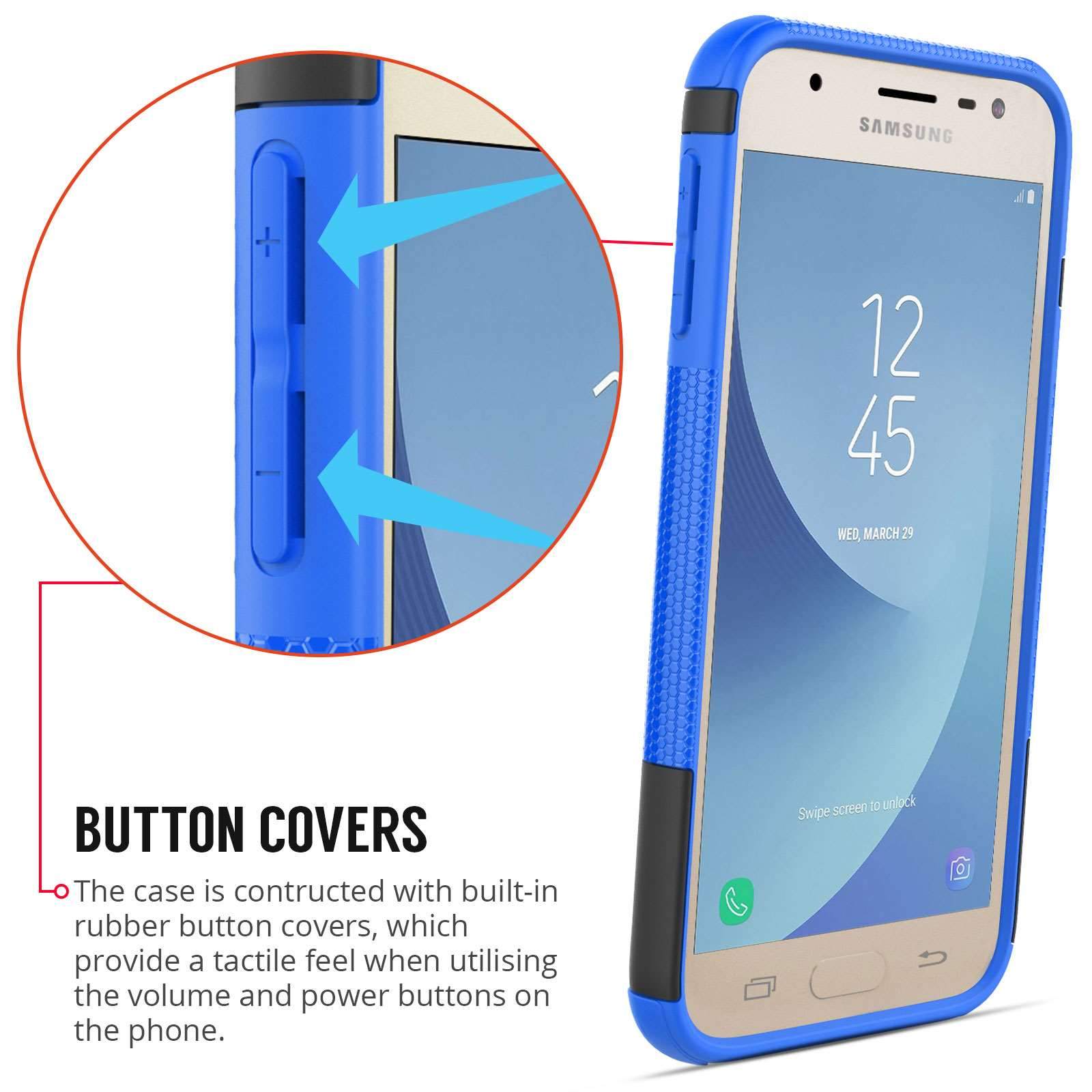 Samsung Galaxy J3 2017 Armour Case With Stand - Black / Blue