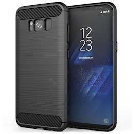 Samsung Galaxy S8 Case, Carbon Fibre Textured Gel Cover | Shock Absorbing | Lightweight & Slim TPU Gel Protection - Black