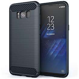 Samsung Galaxy S8 Case, Carbon Fibre Textured Gel Cover | Shock Absorbing | Lightweight & Slim TPU Gel Protection - Blue