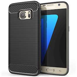 Samsung Galaxy S7 Case, Carbon Fibre Textured Gel Cover | Shock Absorbing | Lightweight & Slim TPU Gel Protection - Black