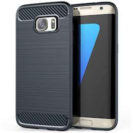 Samsung Galaxy S7 Edge Case, Carbon Fibre Textured Gel Cover | Shock Absorbing | Lightweight & Slim TPU Gel Protection - Blue