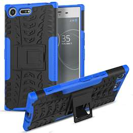 Sony Xperia XZ Premium Case, Sturdy Heavy Duty Protection With Built In Viewing Stand Lightweight | Anti Drop | Impact Resistant Sony Xperia XZ Premium Case - Black & Blue