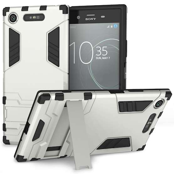 Sony Xperia XZ1 Case, ExtremeHeavy Duty ArmourCase For The Sony Xperia XZ1 | Shockproof Dual LayerFull Body Cover | Drop and Impact Protection - Silver