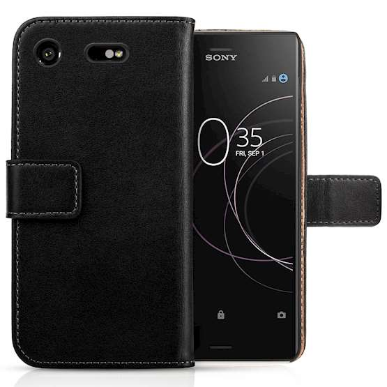 Sony Xperia XZ1 Case,Sony Xperia XZ1GenuineLeather WalletCase |Durable and Slim | Lightweight Cover |With Multiple Card Slots &Cash Compartment - Black