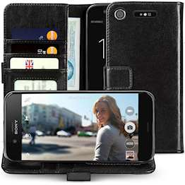 Sony Xperia XZ1  LeatherWallet Case | IDDriving License Slot | Shockproof Protection| Folio Cover WithCash slots,Card Compartments &Magnetic Closure - Black