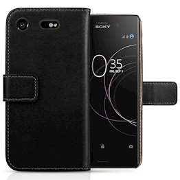Sony Xperia XZ1 Compact  Case, Sony Xperia XZ1 Compact  Genuine Leather Wallet Case | Durable and Slim | Lightweight Cover | With Multiple Card Slots & Cash Compartment - Black