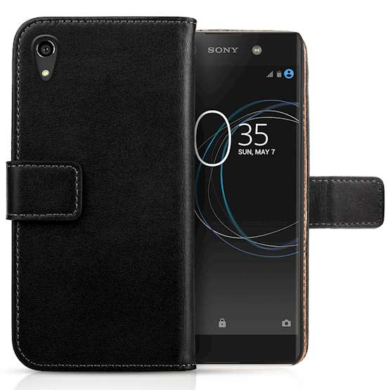 Sony Xperia XA1 Plus Case, Sony Xperia XA1 Plus Genuine Leather Flip Case | Lightweight & Durable | Magnetic Fastener For Easy Phone Access - Black