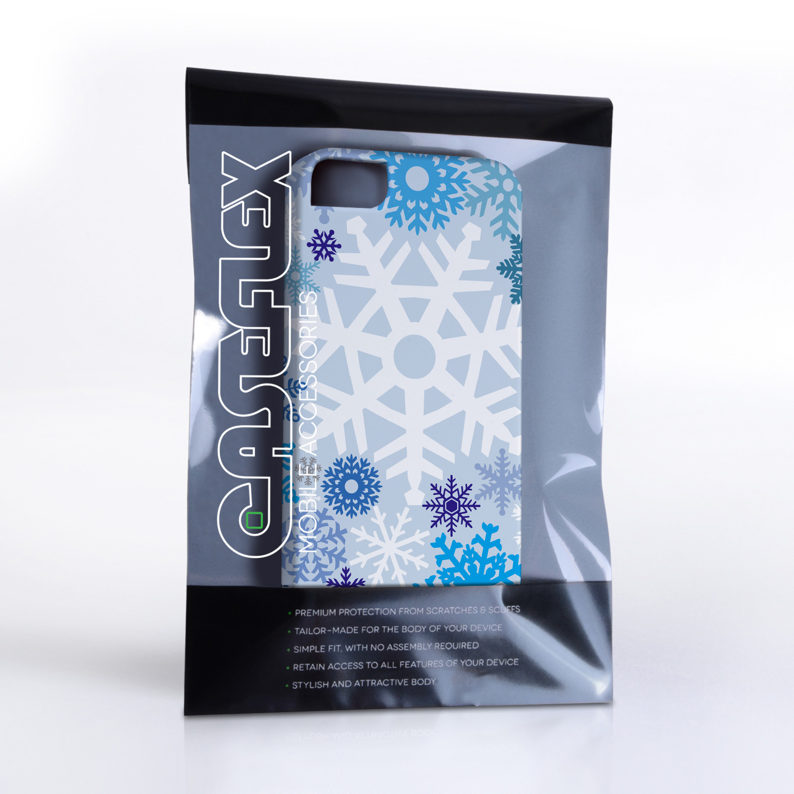 Caseflex iPhone 4 / 4S Winter Christmas Snowflake Cover – Blue
